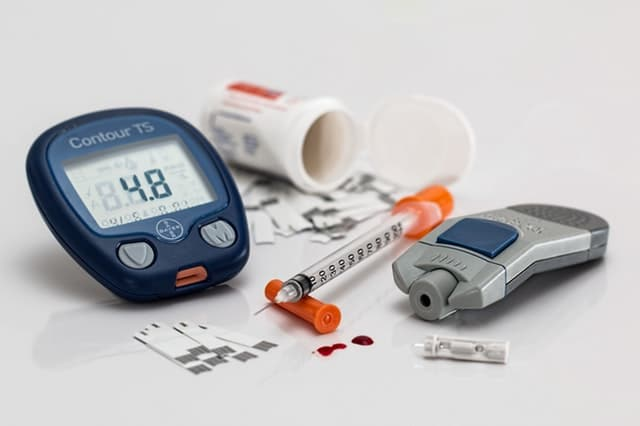 collection of diabetes supplies